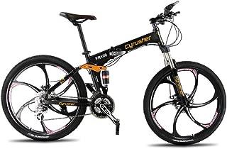 VTSP Mountain Bike Folding Foldable Bicycle 24 Speeds,FR100 Shimano M310 Altus Full Suspenion 17x26 Inch Aluminium Frame Disc Brakes Bicycle (US Warehouse)