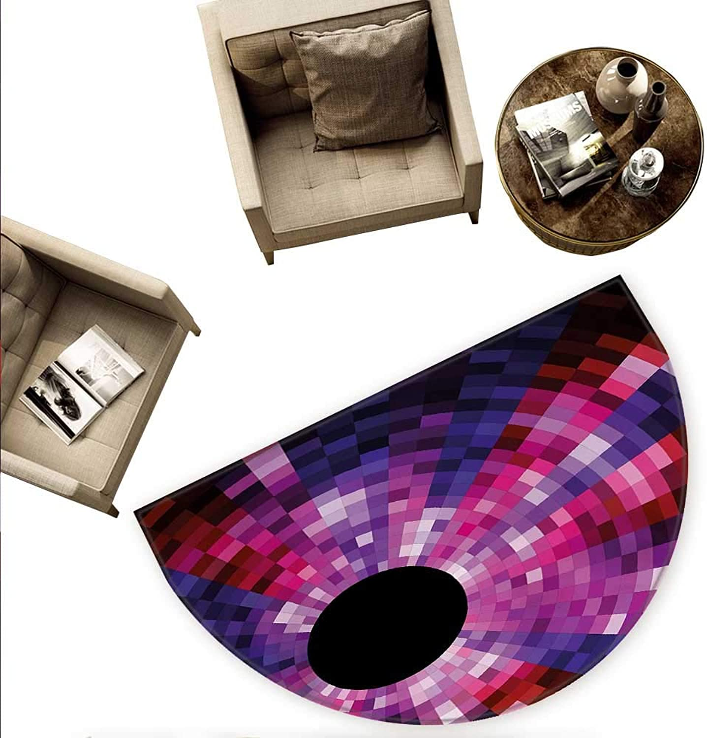 Abstract Semicircular Cushion Mosaic Pattern Design Vibrant colors Tiles Modern Circular Geometric Graphic Entry Door Mat H 63  xD 94.5  Pink Purple Red