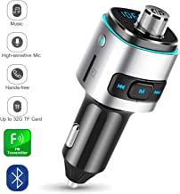 EEEKit Bluetooth FM Transmitter for Car, 7 Color LED Backlit Fast Car Charger Support Navigation Voice Play, Dual USB Ports, TF/Micro SD Card, Wireless Handsfree Calling Car Kit