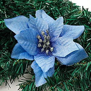 vannyster Glitter Poinsettia Flower Christmas Tree Ornament, Artificial Flower Home Decorations for Christmas/Wedding/Holiday Party, Pack of 24,
