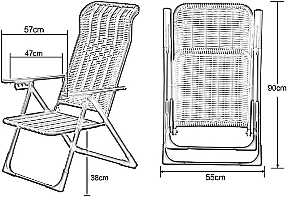 CAIJUN Chaise Longue Pliant Chaise Longue Étanche Dossier Réglable Respirant Chaise De Pause Déjeuner, 4 Styles (Color : A) B