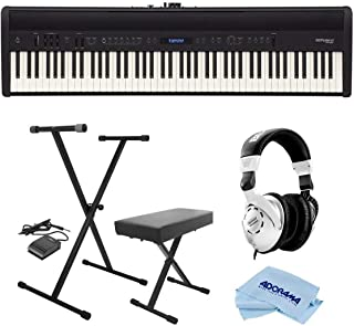 Roland FP-60 88 Key Digital Piano, Black - Bundle With On-Stage KPK6520 Keyboard Stand/Bench Pack with Sustain Pedal, Behringer HPS3000 High-Performance Studio Headphones, Microfiber Cloth