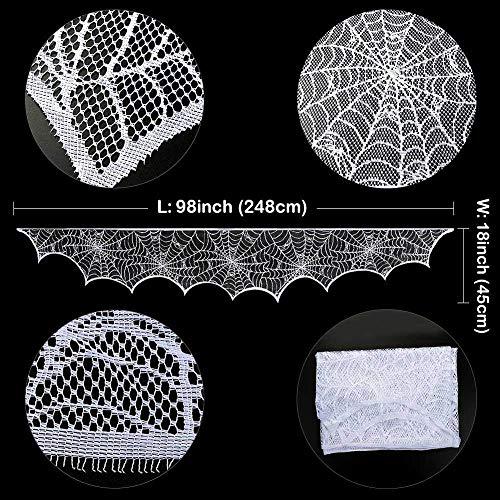 QLQGY Cobweb Kamino sjaal Halloween-party kant zwart Spider Web mantel hanggordijn accessoires voor thuis