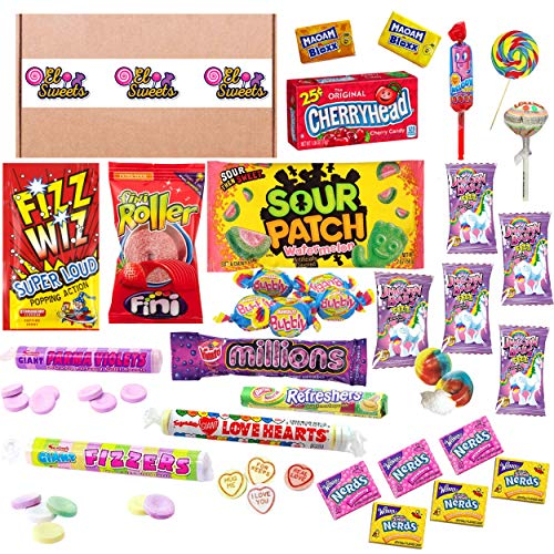 Retro Sweets American Candy Selection Box | 30 Sweets | Parma Violets Swizzles Love Hearts Sour Patches Nerds
