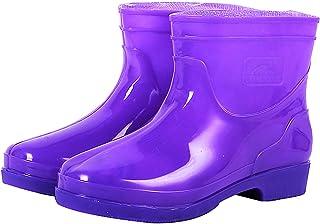 LWZ Bottes de Pluie mi-Hauteur Unisexes, Chaussures de Botte de Travail de Jardin imperméables légères, Semelle antidérapa...