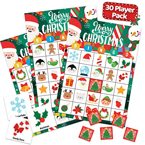 Christmas Holiday Bingo Game for Kids, Adults and Large Groups - 30 Players - Xmas Winter Bingo Cards Indoor Home Family Activities - Christmas Games & Party Supplies