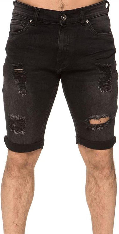 FUNEY Men's Fashion Ripped Short Jeans Skinny Stretch Comfy Chino Short Pants Slim Fit Holes Twill Bermuda Denim Shorts