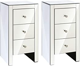 Artiss 2 x Bedside Tables, Mirrored Side Tables Bedside Drawers, Silver