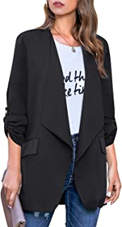 ACKKIA Womens Casual Cardigan Pocket Loose Office Lightweight Jacket Blazer Suit