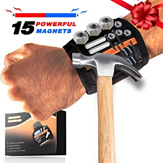 EIGSO Magnetic Wristband with 15 Strong Magnets for Holding Tools, Screws, Nails, Drill Bits - Best Unique Gifts for Men, DIY Handyman, Father/Dad, Husband, Boyfriend, Him, Women