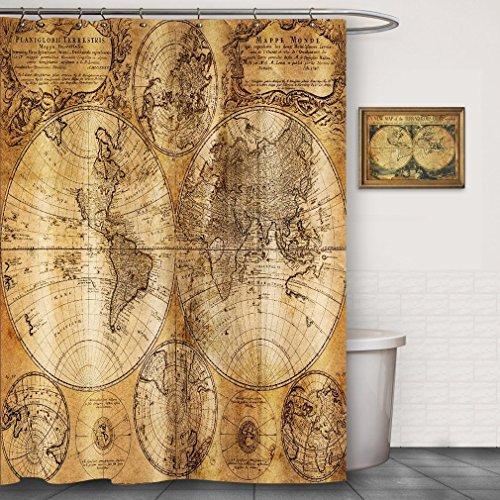CHATAE Cortina de Ducha de foog, diseño Vintage de mapamundi, 100% Tela, no Impermeable, impresión Digital, Juego de decoración para el baño con Gancho marrón (175,3 x 177,8 cm)