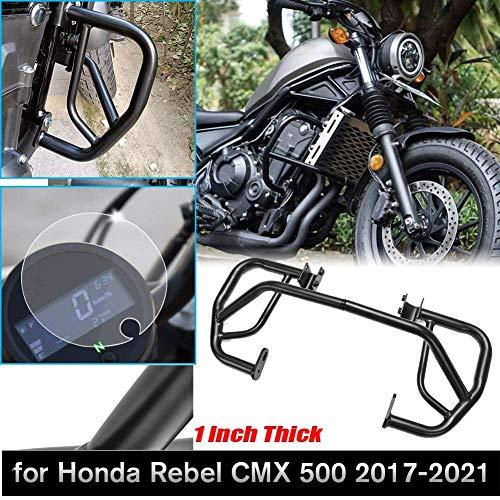 AHOLAA Motorcycle Black Engine Guard Protector Highway Crash Bar Kit Compatible with Honda Rebel CMX 500 CMX500 2017 2018 2019 2020 2021(Crash Bar+Screen Protector)