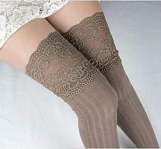 ZhiGe Mujer Calcetines hasta la Rodilla,3 Pares de Calcetines de Encaje Largo Barril Sobre Calcetines de Rodilla, piernas Flacas Vertical algodón Calcetines