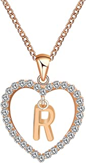 Fashion Women Gift Pendant Necklaces, 26 English Letter Name Love Heart Chain Necklaces Jewelry