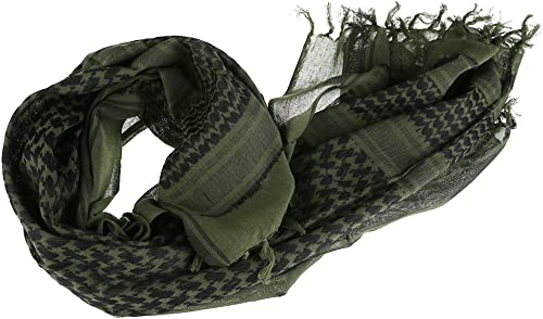 Slolvedi Men's Cotton Checked Army Military Tactical Arab Shemagh Keffiyeh Shawl Scarves Wrap ( Army Green )