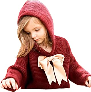 Baby Girl Hooded Pullover Sweater Knitted Cardigan Coat Winter Outerwear