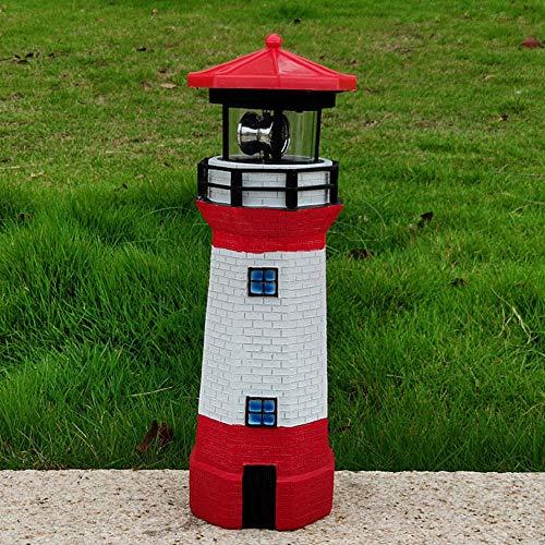 LED Solar Leuchtturm, Bis zu 8 Stunden 360 Grad rotierendes LED-Leuchtfeuer, 28 cm Garten Deko Leuchtfeuer Gartendeko Beleuchtung Mit Dämmerungssensor Solarbeleuchtung (rot)