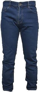 Jeans Uomo 5 Tasche Invernale Imbottito in Pile Caldo Foderato Elastico 46-60 Termico Chiaro a Vita Alta Denim