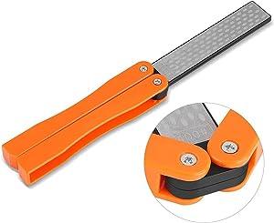 Knife Sharpeners Diamond Pocket Sharpener Folding Knife Garden Tools Sharpening 400/600 Grit Double Sided Sharpening Stone for Kitchen, Garden, Outdoor tools (Orange)