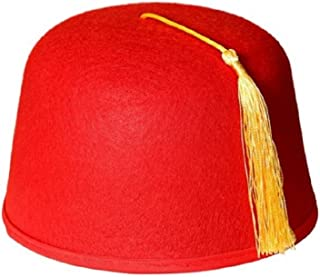 9e4c8a1354a12 Adult Size Red Felt Dr. Who Shriner Aladdin Fez Hat w  Gold Tassel