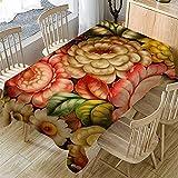 Mantel con Estampado De Flores De Arte Simple 3D, Mantel Rectangular Impermeable para El Hogar, Adecuado para Mantel De Varias Mesas