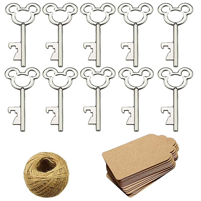 50Pcs Vintage Skeleton Key Bottle Openers with 50pcs Escort Card Tag and Twine for Wedding Party Favors Rustic Decoration, Silver