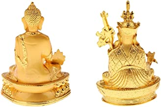 Flameer 2pcs Blessing Buddha Statue Meditation & Pharmacist Buddhism Home Office Decor Ornaments