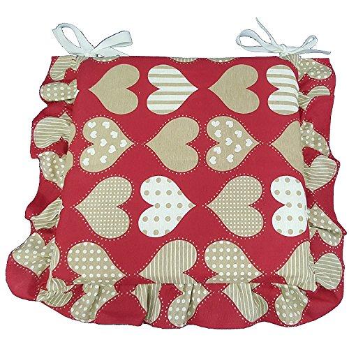 Set 6 cuscini Rossi cuore, con volant 40x40 spessore 5 cm, copri sedia cucina, Euronovità