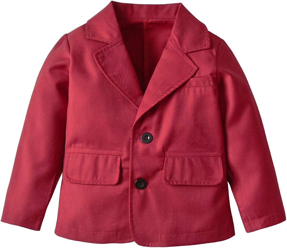 Boys Suit Blazer Notched Lapel Solid Color Outwear