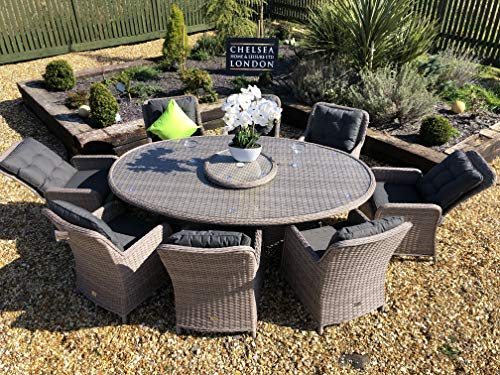 chelsea home and leisure ltd Rattan Garden Furniture Oval Dining Table Set