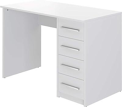 Marque Amazon -Movian - Bureau 4tiroirs Idro Modern, 56 x 110 x 73, Blanc