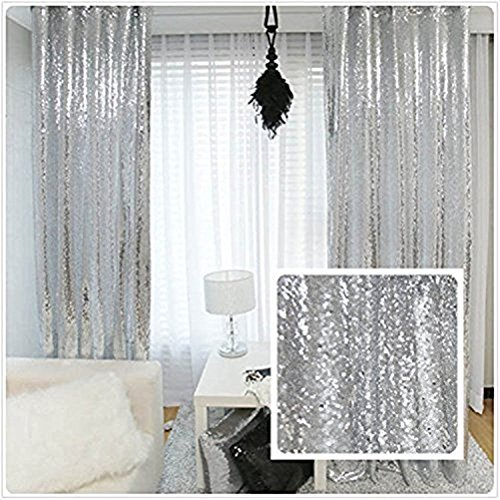 TRLYC Glitter Sequin Backdrop Curtains for Wedding Party Decor (2 Panels, W2 x...