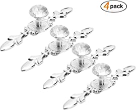 Drawer Pull Handles Knobs, DDSKY 4-Pack Diamond Crystal Knobs with Plate for Kitchen Door Cupboard Wardrobe Drawer Furniture Decoration, Large