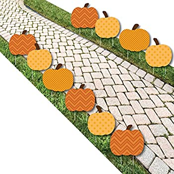 Big Dot of Happiness Pumpkin Patch - Pumpkin Lawn Decoration Signs - Outdoor Fall Halloween or Thanksgiving Yard Decorations - 10 Piece
