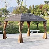 Patio Gazebo, Hardtop Metal Roof Canopy Party Tent Garden Outdoor Shelter with Mesh Curtains Side Walls
