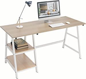 DlandHome 55 Inches Large Computer Desk, Trestle Desk, Home Office Desk/Workstation/Writing Table with Opening Shelves, Maple, TP-140MW