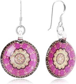 Sterling Silver Hand Blown Glass Fuschia Pink & Gold Mandala Art Dangle Earrings, Styles Variations