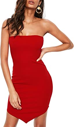 7b61dda35854 Hego Women s Irregular Hemline Strapless Bandage Dress Mini Club Party Night  Out H5550