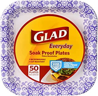 Glad Square Disposable Paper Plates for All Occasions | Soak Proof, Cut Proof,..