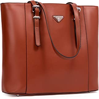 "BOSTANTEN Women Briefcase Leather Laptop Tote Handbags 15.6 inch Computer Shoulder Bags Brown Brown Medium (L)16.53"" x (W)4.72"" x (H)12.6"""