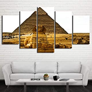MZWLH Canvas Modern Painting Hd Home Decoration Poster Wall Art 5 Panel Ancient Egypt Pyramid Living Room Printed Pictures