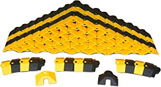 UltraTech 1820 Ultra-Sidewinder Cable Protection System with Endcaps, 24' Length x 3 Width x 3/4 Height, Black and Yellow, Small