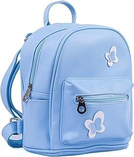 حقيبة ظهر صغيرة مصنوعة من الجلد للكتف للنساء والفتيات - لون أزرق