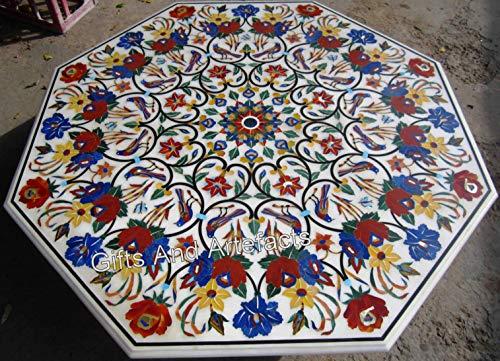 Mesa de comedor de mármol blanco con incrustaciones de mano para restaurante y bar de 48 pulgadas