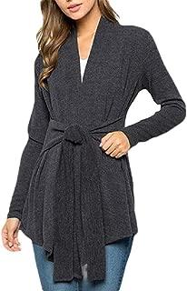Womens Long Sleeve Open Front Lightweight Drape Wrap Cardigan Travel Sweater with Waist Belt