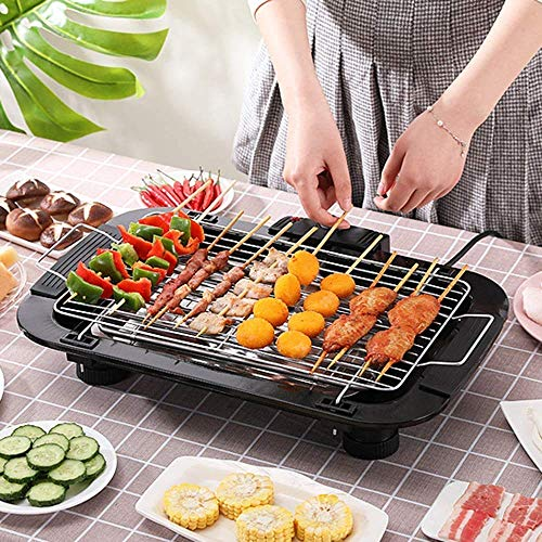 UV MAX Indoor/Outdoor Electric Barbeque Grill and Tandoor for Home Electronic PAN with Power Indicator Light - BBQ Grill Tandoori Maker, Removable Water Filled Drip Tray (Black, 2000 Walt)