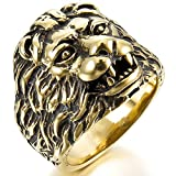 MunkiMix Acciaio Inossidabile Anello Anelli Banda Oro Tono Nero Lion Leone Testa Dimensioni 22 Uomo