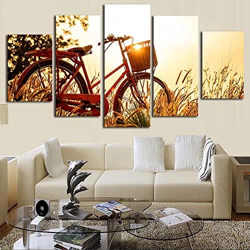 Canvas wall art gedrukt mode schilderen modulaire 5 panel fiets foto foto's versieren woonkamer voor thuis