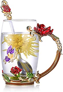 Tea Cup Glass Coffee Mugs Enamel Rose Flower Butterfly Drinking Cups with Spoon Set Unique Gifts for Birthday Wedding Christmas Red Rose Tall Mug 12oz