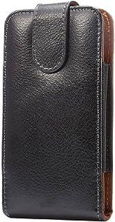 DFV mobile - Genuine Leather Holster Executive Case belt Clip Rotary 360 Magnetic Closure for Tesla Smartphone 6.1 - Black